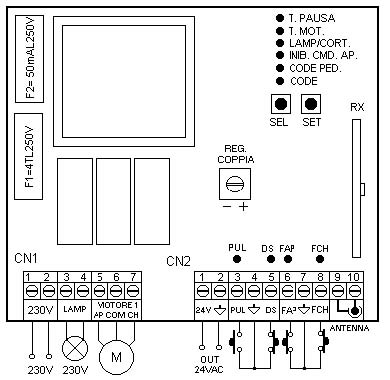 Bft schemi elettrici for Schema centralina bft alpha